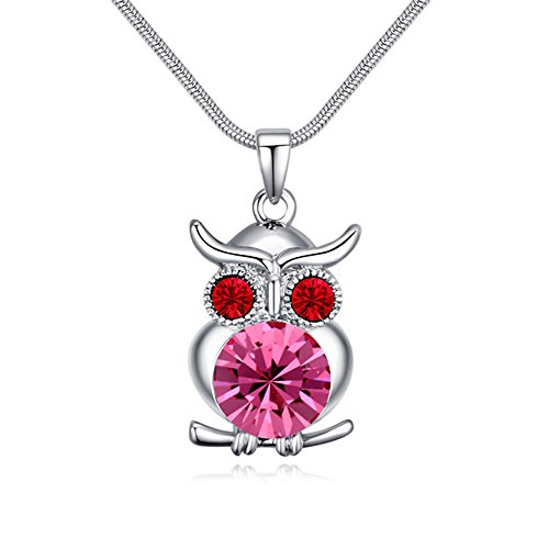 Swarovski Crystal Airplane (Owl Pendant Necklaces with Red Swarovski Element Crystal Collar Necklaces Y Shape Necklaces for Girl Women Platinum Plated)