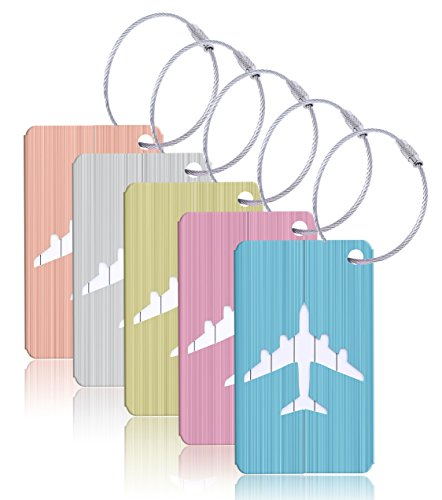 WeBravery Aluminum Luggage Tags Suitcase Tags Travel Bag ID Identification Labels (5Pack-Plane Multicolor)