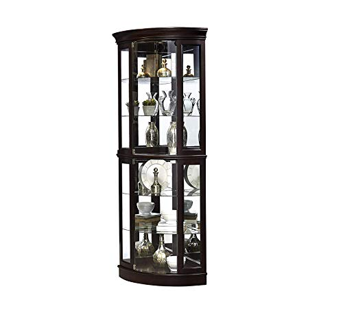 (Wood & Style Furniture Sable Half Round Mirrored Curio Display Cabinet, 31.25