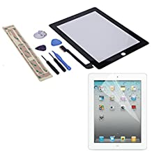 HDE Replacement Front Glass Digitizer Touch Screen + Screwdriver Pry Tool Kit + Screen Protector + Adhesive Tape for iPad 4 (Black)
