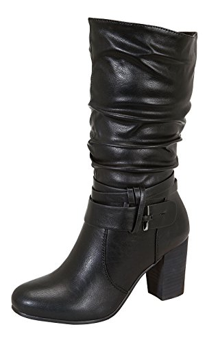 Image of Ralph-2 Women's Middle Chunky Wooden Heel Slouchy Mid-Calf Boots Black 12