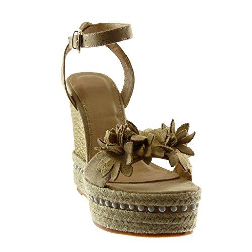 Sandalias Tobillo Mules Moda Cm Flores Cuerda Perla Mujer Plataforma Beige De Zapatillas Correa Angkorly 13 Hta0nEqxq