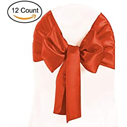 Tiger Chef 12-Pack Burnt Orange 12-inch Wide Satin Chair Bows and Sashes for Wedding Decorations, Birthday Parties, Banquets, Graduations, Engagements, Preferred Satin Table Runners and Chair Tie Sash