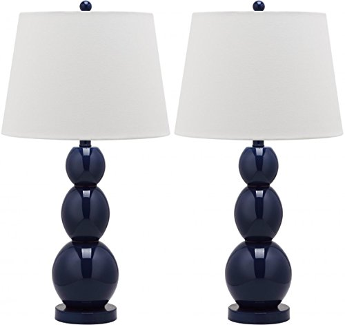 Safavieh Lighting Collection Jayne Three Sphere Glass Table Lamp, Set of 2, Navy (Navy Lamps)