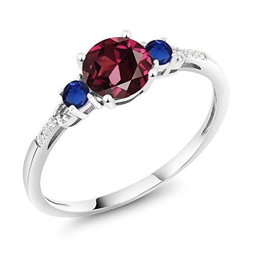 10K White Gold Diamond Accent Three-stone Engagement Ring set with Red Rhodolite Garnet Blue Simulated Sapphire 1.21 - Rhodolite Accents Garnet