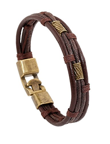 """LNKRE JEWELRY Vintage His & Hers Fabric Leather Cuff Rope Bracelet,8.5"""" A2"""