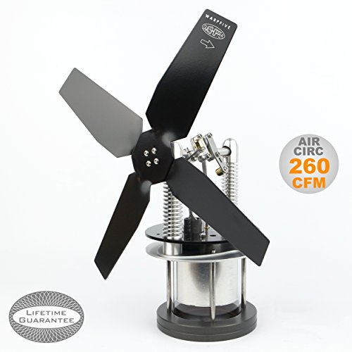 Heat Powered Stove Top Fan for wood multi-fuel coal with Soapstone or cooler surface - WARPFIVE GLASSHOPPER Eco Stirling engine