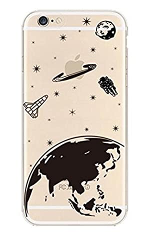 iPhone 7 , Colorful Rubber Flexible Silicone Case Bumper for Apple Clear Cover - Galaxy Universe Earth Planet Spaceman Astronaunt