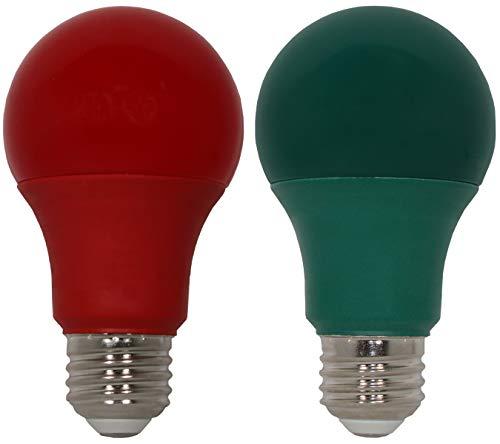 Christmas LED Light Bulbs - 9 Watt LED Red and Green Lights - 60 Watt Equal Red and Green Light Bulbs - Dimmable - E26 Base - by GoodBulb (9 Watt A19, 2 Pack)