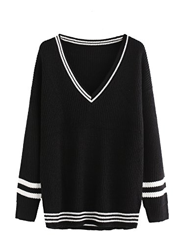 Floerns Women's Casual Striped Trim V Neck Long Sleeve Varsity Top Sweater Loose Jumper Pullover Knitted Shirt Black (Varsity Sweater)