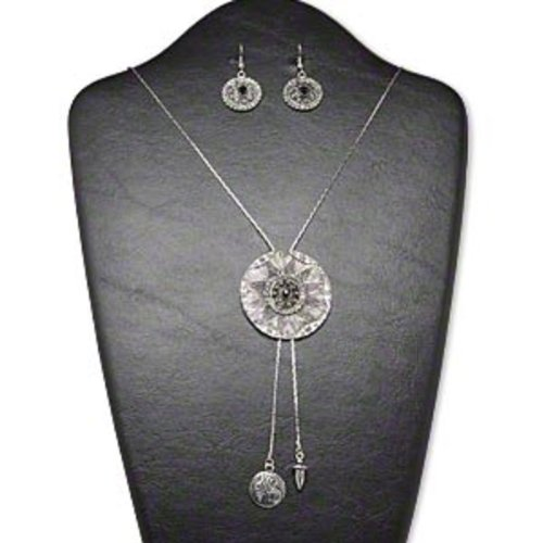 Necklace and earring, acrylic rhinestone and antiqued silver-finished brass and