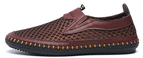 Mohem Mens Poseidon Mesh Walking Shoes Casual Water Shoes Coffee