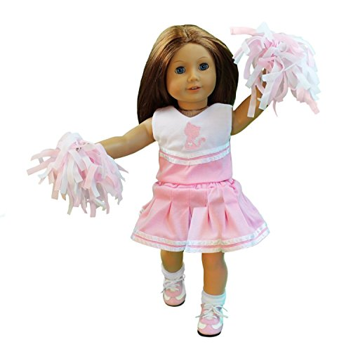 Cheerleading Doll Clothes for American Girl Dolls (Includes 2 Pom Poms, Cheerleading Outfit, Socks, and Cheer Shoes)