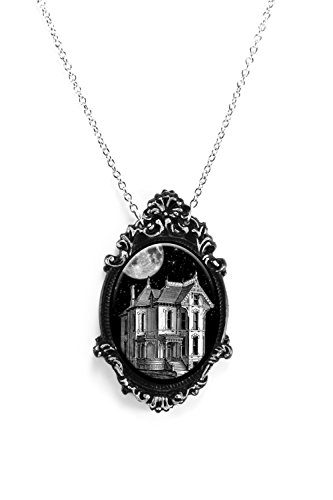 Haunted House Necklace with Ornate Silver and Black Frame on 18