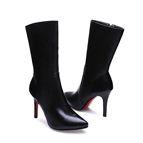 Meotina Genuine Leather Women Boots High Heels Pointed Toe Mid Calf Boots Black lkJVL4Gdt