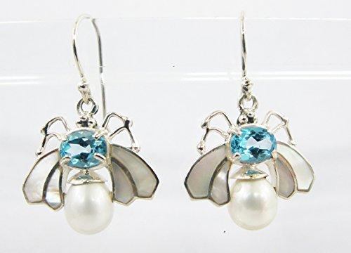 handmade 925 sterling silver dangle drop butterfly earrings with blue topaz, white shell and tear drop pearl, silver earrings with blue stone and pearl Blue Topaz Shell Earrings