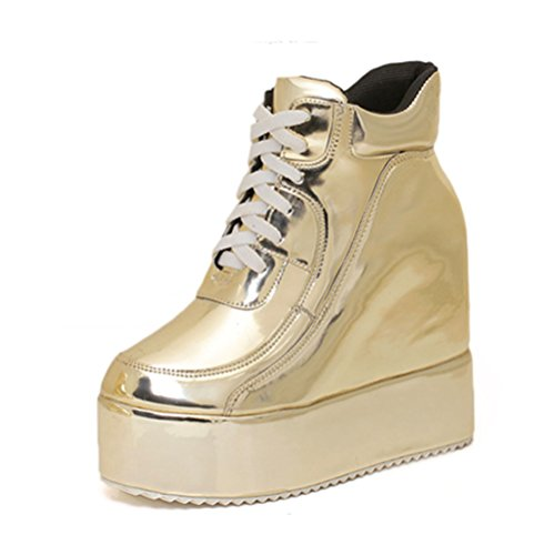 Ladola Womens Platform Wedges Lace-Up Solid Waterproof Urethane Boots Gold