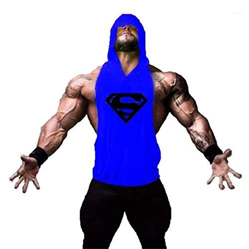 TECOFFER Bodybuilding Stringer Mens Hoodie Sleeveless T-shirts Workout Fitness Gym Tank Top (Blue, L)