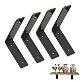 "6""x 6"" Angle Shelf Brackets for Shelves,Iron Shelf Brackets,Forged Heavy Duty Rustic Shelf Brackets, Industrial Forged Steel Floating Shelf Bracket, J/L Bracket.W 1.5"" x Thick 0.2"" (4 Pack)"