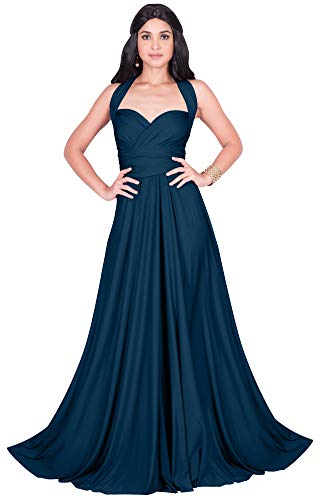KOH KOH Womens Long Bridesmaid Multi-Way Wedding Convertible Wrap Infinity Cocktail Sexy Summer Party Formal Prom Transformer Gown Gowns Maxi Dress Dresses, Blue Teal L 12-14 ()