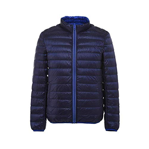 Fashion with Stand Short Jacket Coat Side Jacket Outdoor Blau Brands BOLAWOO Reversible Long Zipper Outerwear Collar Men's Sleeve Light Down Pockets Weight YwYP8q7xC