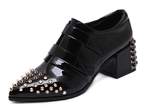 Aisun Da Donna Eleganti Scarpe A Punta Tacco Dressy Con Borchie E Tacco Medio Scarpe Con Tacco Nero