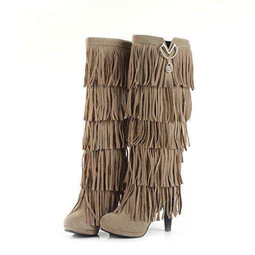 Winter Quaste Beige Herbst Hohe Stiefel Weibliche Stiefel und Mode 15xqxOvgw
