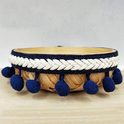 Peach Yalulu 5 Yards Pompom Ball Embroidered Trim Ribbon Tassel Fringe Trim Lace DIY Crafts Sewing Accessories Decoration Supply