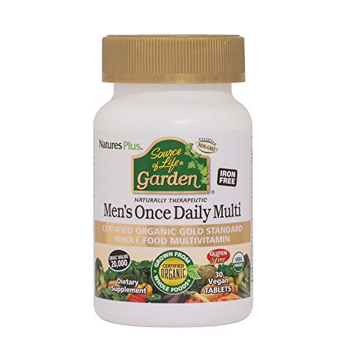 Natures Plus Source of Life Garden Mens Daily - 30 Vegan Tablets - USDA Certified Organic Whole Food Multivitamin & Mineral Supplement - Vegetarian, Gluten Free - 30 Servings