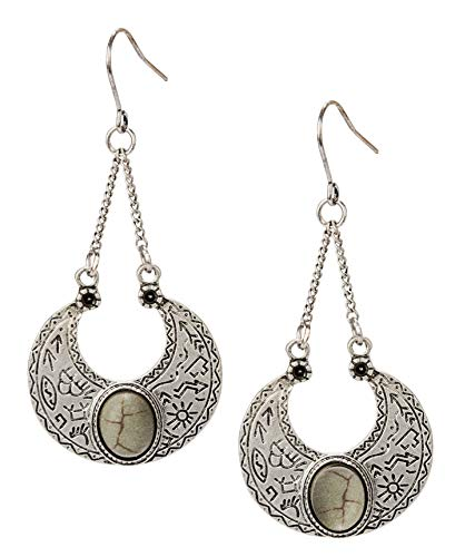 SPUNKYsoul Boho Earring Silver or Patina for Women (Silver)