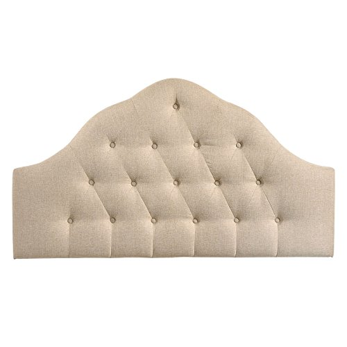 Modway Sovereign Upholstered Tufted Button Fabric Headboard Queen Size In Beige