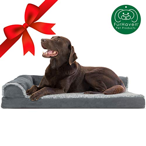 Furhaven Pet Dog Bed | Deluxe Orthopedic Two-Tone Plush Faux Fur & Suede L Shaped Chaise Lounge Living Room Corner Couch Pet Bed w/ Removable Cover for Dogs & Cats, Stone Gray, Large (Couch Shaped L Gray)