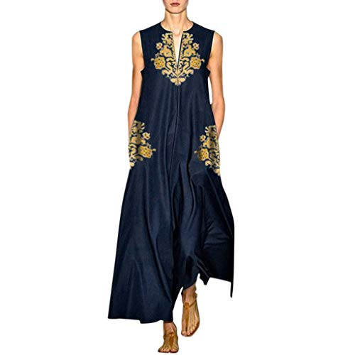 【MOHOLL】 Women's Bohemian Floral Embroidery Maxi Dress Vintage Daily Casual Sleeveless V Neck Dress Plus Size