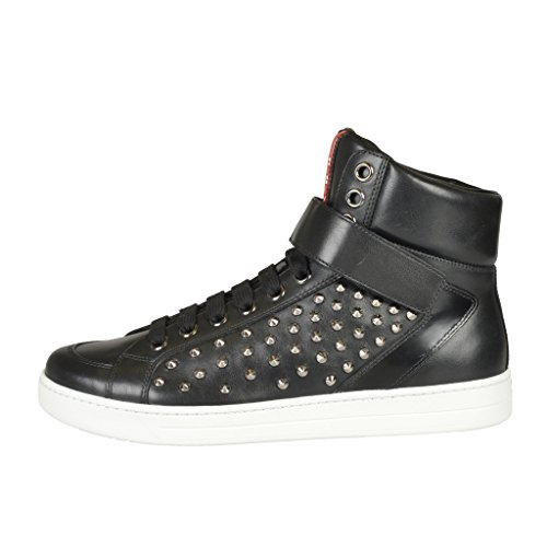 Prada Leather Metal Studs Decorated Hi Top Fashion Sneakers Shoes Black P9HLN4Fh2