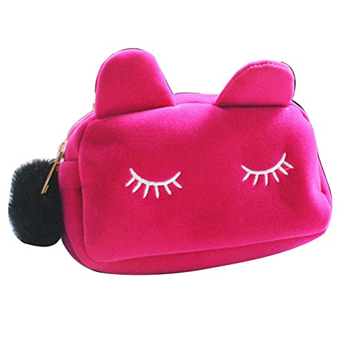 wsloftyGYd Lovely Cat Flannel Large Capacity Zipper Women Clutch Bag Cosmetic Storage Pouch Playful Kitty Large Capacity Cosmetic Bag Korea Cute Clutch Bag Women's Bag Rose Red