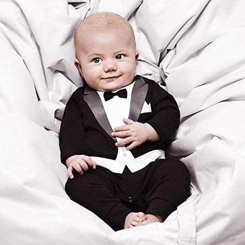 Wpcheng Newborns Costume for A Baby Boy Clothes Gentleman Suit Childrens Leisure Toddler Clothes Jumpsuit Infan Rompers Black,24 m