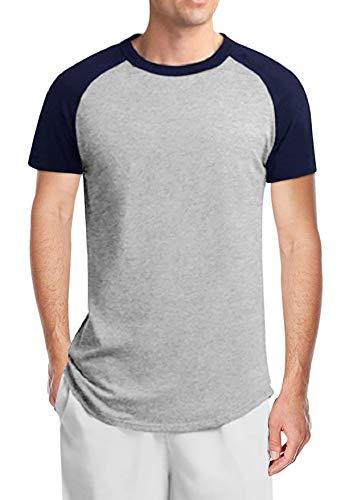 (Twotwowin Men's Short/Long Sleeve T-Shirt Casual Workout Tops Baseball Tee Shirts(na-l))