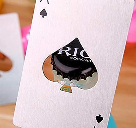 YUEMING 2 piezas Sacacorchos, abrebotellas de casino del tamaño de una tarjeta de crédito de acero inoxidable, abrebotellas de cerveza
