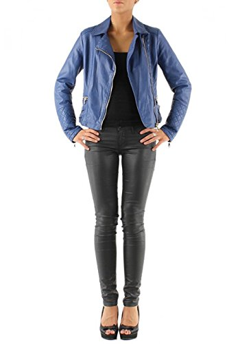 Veste faux cuir bleu