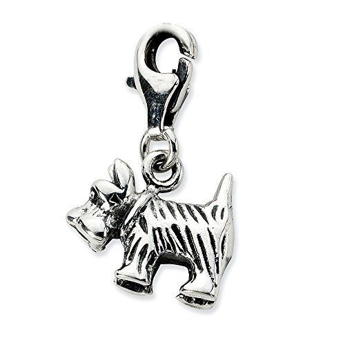 (3-D Vintage Scottie Dog Charm In 925 Sterling Silver 20x14mm )