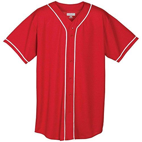 - Augusta Activewear Wicking Mesh Button Front Jersey With Braid Trim, Red/White, Medium