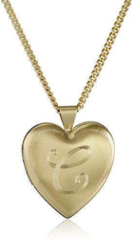 18k Gold-Plated Initial Heart Locket Necklace, 24