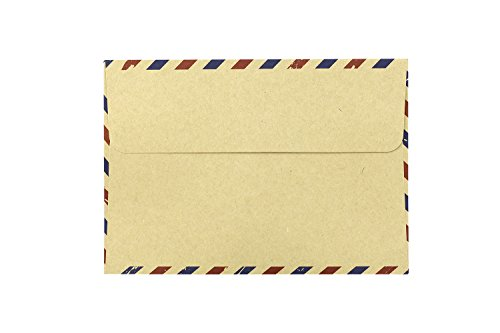 BeeChamp 50pcs Open End Vintage Invitation Envelopes Airmail Stationery (Brown) Photo #6