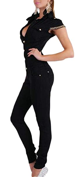 1875aacd151 Amazon.com  UUYUK Women Short Sleeve Pure Color Slim Fit Button Down  Jumpsuit Romper  Clothing