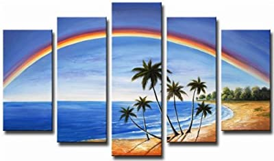 Abstract Framed Blue Rainbow in Sea Sky Wall Art Oil Painting 5 Piece