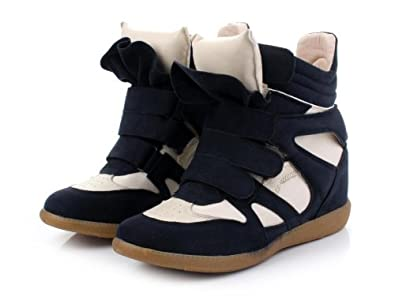 71ac42539499 Womens Velcro Strap High Top Wedge Hidden Heels Ankle Boots Sneaker Shoes  3-7 (