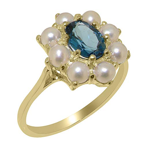 (LetsBuyGold 9k Yellow Gold Natural London Blue Topaz & Cultured Pearl Womens Statement Ring - Size 7)