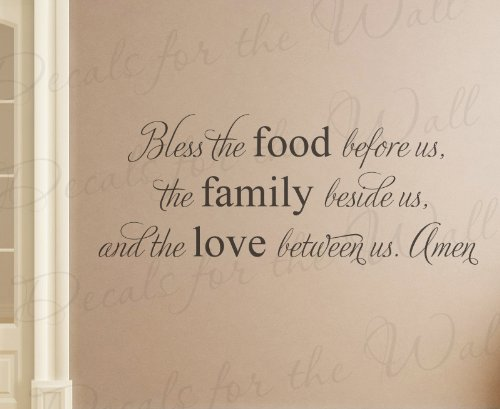 Bless the Food Before Us the Family Beside Us and the Love Between Us Amen - Religious God Christian Prayer Dining Room Kitchen - Wall Decal Mural Graphic - Vinyl Quote Sticker Art Decoration - Lettering Decor Saying