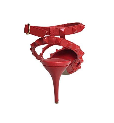 Décolleté Kaitlyn Con Tacco A Punta Con Borchie In Pelle Con Tacco Alto Rosso Opaco / Bordatura Rossa / Borchie Rosse
