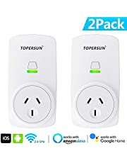 TOPERSUN 2PCS WiFi Smart Socket Outlet Plug Enabled Electrical Power Switch App Control from Anywhere Remote Control Outlet with Timing Function Compatible with Amazon Alexa Echo and Google Home IFTTT